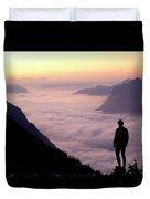 A Lone Hiker Above The Clouds Duvet Cover