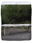 A Long Stone Section Over Wooden Stumps Forming A Rough Sitting Area Duvet Cover