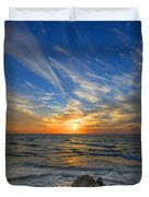 A Majestic Sunset At The Port Duvet Cover