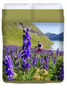 A Male Hiker In Sunny Flower Field Duvet Cover