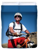 A Male Mountain Biker Stops To Enjoy Duvet Cover