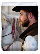 A Male Ranch Hand In A Cowboy Hat Duvet Cover