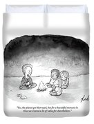 A Man And 3 Children Sit Around A Fire Duvet Cover by Tom Toro