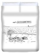 A Man And A Woman Lie Down On Reclined Beach Duvet Cover by Mick Stevens