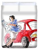 A Man And His Car And His Newspaper Duvet Cover