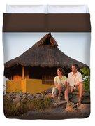 A Man And Woman Enjoy Sunset Duvet Cover