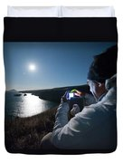 A Man Captures The Full Moon Duvet Cover
