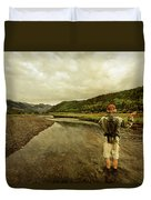 A Man Flyfishing On A River Duvet Cover