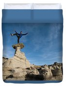 A Man Hiking And Exploring The Complex Duvet Cover