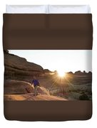 A Man Hiking In The Needles District Duvet Cover