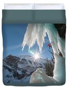 A Man Ice Climbing Louise Falls Duvet Cover