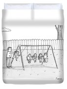 A Man Is Seen Swinging A Group Of Kids Like A Set Duvet Cover by Zachary Kanin