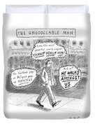 A Man Is Seen Walking Down The Sidewalk With Word Duvet Cover by Roz Chast