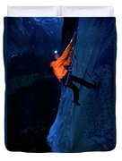A Man Jumaring To A Route On El Cap Duvet Cover