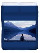 A Man Looks At The Mountains Duvet Cover