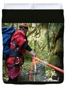 A Man Lowers A Rope For Canyoning Duvet Cover