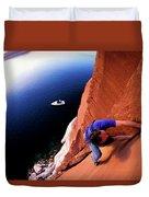 A Man Rock Climbing Duvet Cover