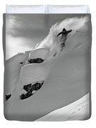 A Man Skiing A Steep Slope In Jackson Duvet Cover
