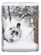 A Man Skiing Powder In The Trees Duvet Cover
