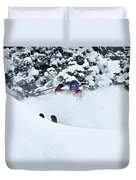 A Man Skis On Teton Pass In Wyoming Duvet Cover