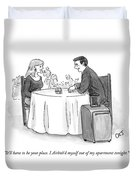 A Man Speaks To A Woman On A Date At A Restaurant Duvet Cover by Carolita Johnson
