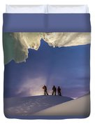 A Man Stands At The Entrance Of An Ice Duvet Cover