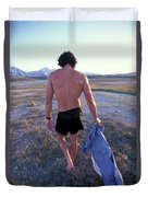 A Man Takes Off His Clothes And Walks Duvet Cover