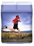 A Man Trail Runs In Salt Lake City Duvet Cover