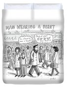 A Man Wearing A Beret Walks Down A Busy Street Duvet Cover by Roz Chast