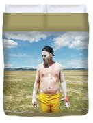 A Mans Face Covered In Clay Mud Duvet Cover
