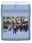 A Marine Band Marching In The 2009 New York St. Patrick Day Parade Duvet Cover