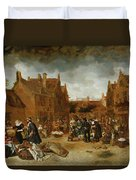 A Marketplace In Winter, 1653 Duvet Cover
