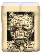 A Maze Ing Man 3 Sepia Duvet Cover
