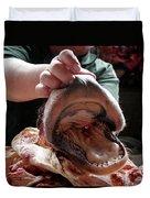 A Meat Seller Shows Off A Cow Snout Duvet Cover