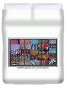 A Menagerie Of Colorful Quilts Triptych Duvet Cover