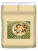 A Mexican Golden Barrel Cactus With Blossoms Duvet Cover
