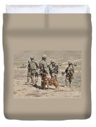 A Military Working Dog Accompanies U.s Duvet Cover