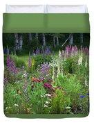 A Mixture Of Flowers Bloom In Hillside Duvet Cover