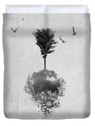 Tree Birds Clouds Abstract Paint Drips Duvet Cover