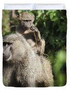 A Monkey And Its Baby Sitting On Her Duvet Cover by Diane Levit