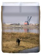 A Moose Walks On The On Reclaimed Land Duvet Cover