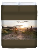 A Mother And Child Hike At Sunset Duvet Cover