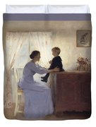 A Mother And Child In An Interior Duvet Cover by Peter Vilhelm Ilsted