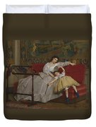 A Mother And Her Young Daughter Duvet Cover