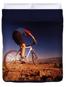 A Mountain Bike Rider On A Ride Duvet Cover