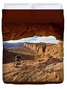 A Mountain Biker Rides By On Slickrock Duvet Cover