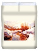 A Mountain Torrent In A Winter Landscape Duvet Cover