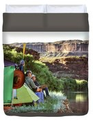 A Multi-generational Family Of Boaters Duvet Cover