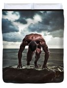 A Muscular Man In The Starting Position Duvet Cover