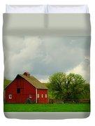 A Neat Red Barn Near Sheridan Wyoming Duvet Cover